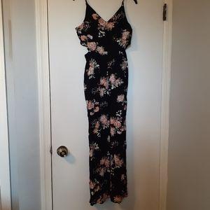 Black floral cutout maxi dress